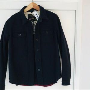 NWT FIDELITY Navy Wool Coat, Sz M